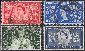 Great Britain 313-316 Used - Queen Elizabeth II Coronation
