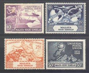 Malaya Negri Sembilan Scott 59/62 - SG63/66, 1949 UPU Set MH*