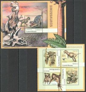 BC560 2012 GUINEA-BISSAU FAUNA PREHISTORIC ANIMALS DINOSAURS BL+KB MNH