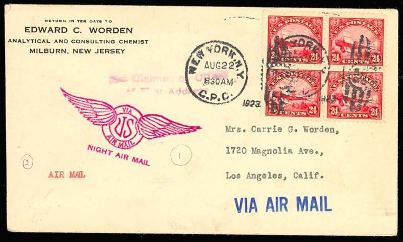 C6, Block August 22, 1923 NY - LA FLIGHT COVER - VF GEM