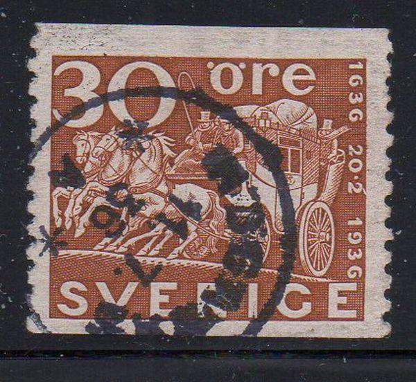Sweden Sc 256 1936 30 ore Mail Coach stamp used