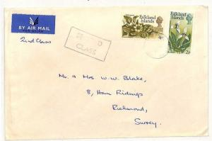 SS155 1970s FALKLANDS to GB Surrey Richmond Commercial Airmail {samwells-covers}
