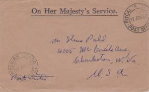 Pitcairn Island Official Free Mail 1954 Pitcairn Island, Post Office to Charl...