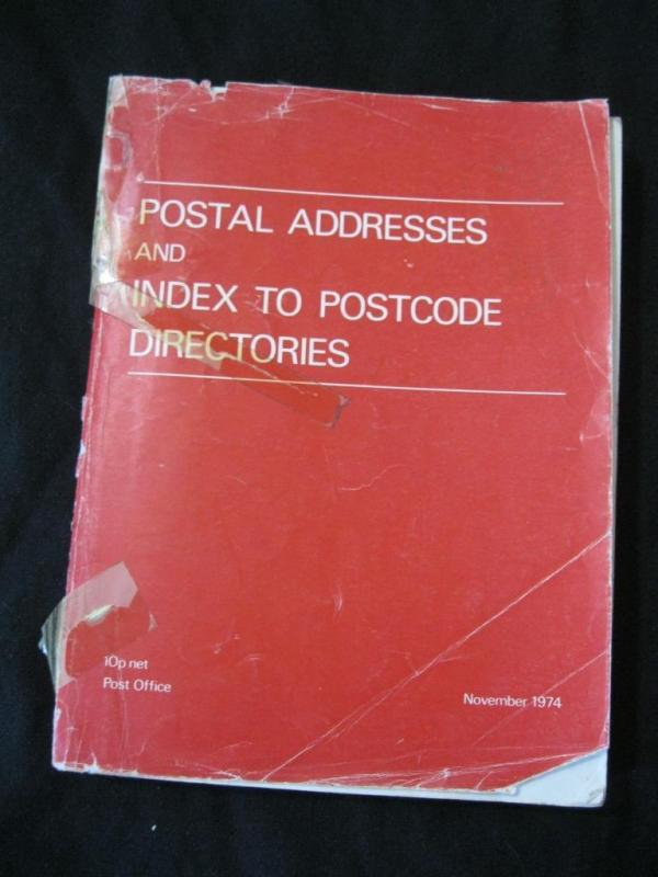 POSTAL ADDRESSES AND INDEX TO POSTCODE DIRECTORIES 1974 by THE POST OFFICE
