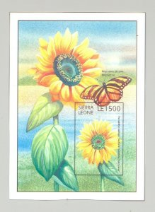 Sierra Leone #1919 Sunflowers, Butterflies 1v Imperf S/S Chromalin Proof