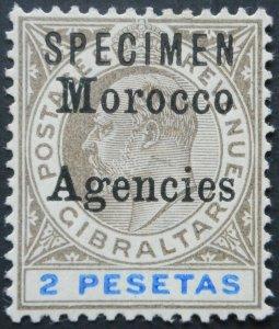 Morocco Agencies 1903 EVI Two Pesetas opt SPECIMEN SG 23s mint