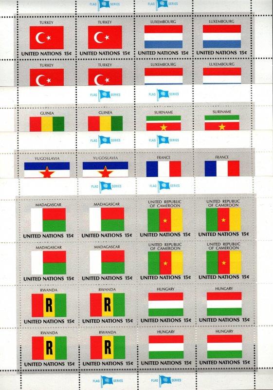United Nations #325-40 MNH Sheets CV $4.40 (X933L)