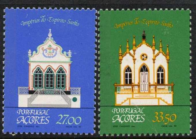 Portugal - Azores 334-5 MNH Chapel of the Holy Ghost, Architecture