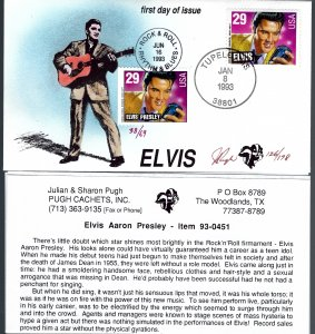 Pugh Designed/Painted Elvis Tupelo & Rock N Roll FDC...96 of 178 created!