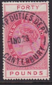 NEW ZEALAND 1880 LONG TYPE STAMP DUTY £40 used..............................7846
