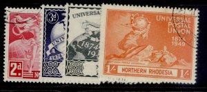 NORTHERN RHODESIA GVI SG50-53, anniversary of UPU set, FINE USED. Cat £11.