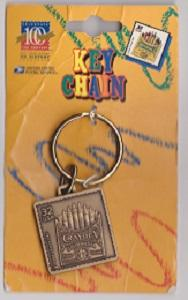 Metal Key Ring Featuring the Scott #3182d Crayola Crayons Stamp