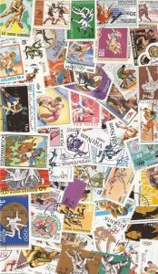 Wrestling on Stamps Collection - 50 Different Stamps