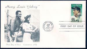 UNITED STATES FDC 25¢ Lou Gehrig 1989 Cacheted