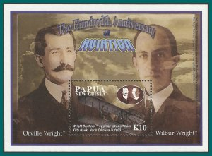 Papua New Guinea MNH S/S 1089 Wright Brothers Aviation 2003 SCV 9.00