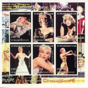 Turkmenistan MNH S/S Marilyn Monroe Cinema 1997