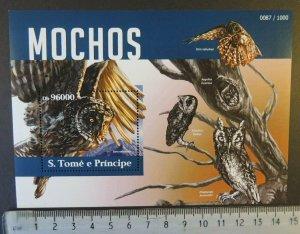 St Thomas 2015 owls birds of prey s/sheet mnh