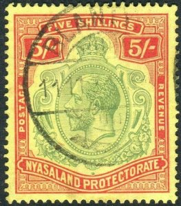 NYASALAND-1929 5/- Green & Red/Yellow.  A fine used example Sg 112