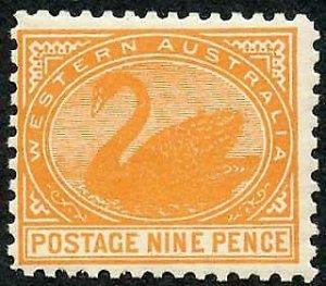 Western Australia SG133 9d Yellow-orange wmk V over Crown Perf 11 M/M