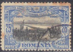 ROMANIA  SCOTT# 181  ROMANIA  ARMY CROSSING DANUBE 1906 SEE SCAN