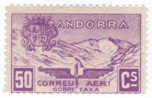(I.B) Andorra Postal : Airmail 50c