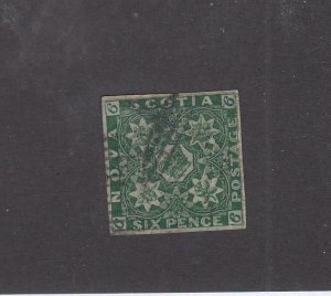 NOVA SCOTIA (MK6778) # 5 FVF-USED 6p 1857 PENCE ISSUE IMPERF /DRK GREEN CV $2500