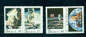 Cinderella - 1971 British Strike Mail set of 2 MNH Man on the Moon pairs