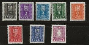 German Occ. of Serbia 2NJ16-22 PLUS 2NO1 M Hinged (17,18,22 & 2NO= MNH) (414129)