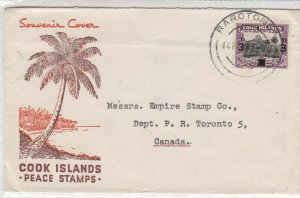 Cook Island Peace Stamps Souvenir Palm Tree Illustration Stamp Cover Rf33572