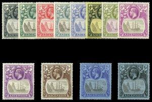 Ascension 1924 KGV set complete MLH. SG 10-20. Sc 10-21.