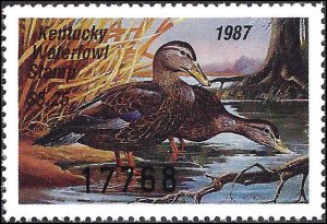 KY3 Mint,OG,NH... State Duck Stamp... SCV $9.00... XF