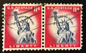 1044A Red Statue of Liberty, Circulated pair, Vic's Stamp Stash
