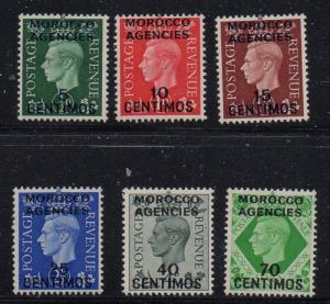 Great Britain Morocco Sc 83-88 137-1940 George VI stamp set mint