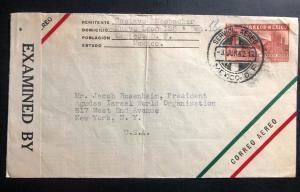 1942 Mexico City Mexico Airmail Censored Cover to New York USA Judaica