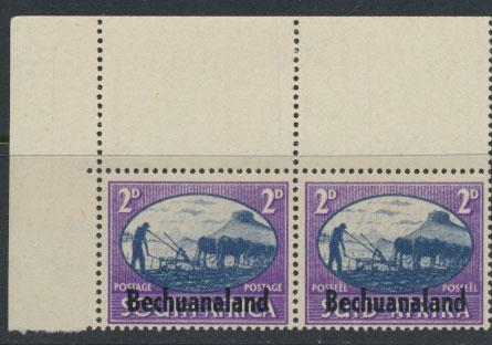 Bechuanaland  SG 130 Lightly Mounted Mint - Corner Pair  variety