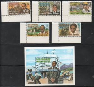 Turks & Caicos 457-62 1980 Human Rights stamp set & sheet mint NH