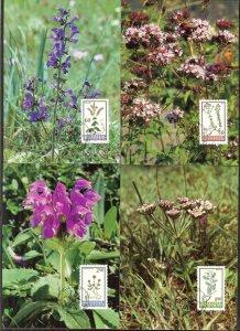 Liechtenstein 1993 Plants Flowers 4 Maxi Cards FDC