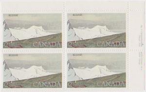 Canada #727v Mint Plate 4 UR VF-NH Cat. $45. 1985 $2. Kluane Harrison Paper.