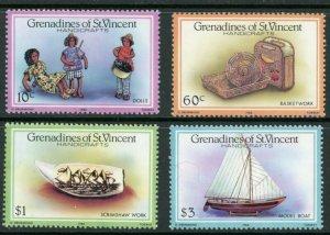 St. Vincent Grenadines Sc 519-22 Handicrafts: Scrimshaw, Basketwork, Dolls, Boat