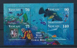 [39537] Vanuatu 1997 Marine Life Coral Reef Diving MNH Sheet