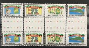 Nevis 1984 #379-82 Gutter Pairs, MNH