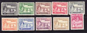 TURKS & CAICOS IS   1938  KGVI PICTORIALS PART SET TO 2/-  M&U