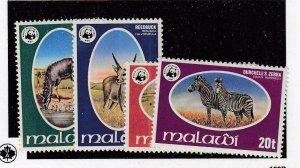 MALAWI (MK6578) # 319-322 VF-MNH 1978 ANIMALS & WILDLIFE FUND EMBLEM SET CV $65