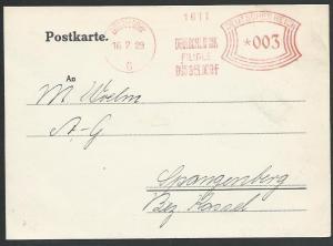 GERMANY 1929 postcard red meter DUSSELDORF,DeutscheBank...............57085