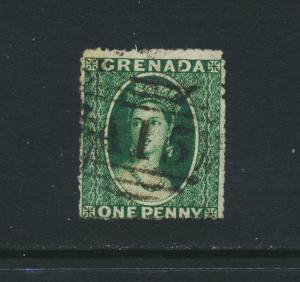 GRENADA 1861, 1d GREEN, VF USED SG#1 CAT£300 $385 (SEE BELOW)
