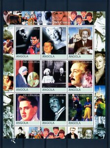 Angola 2000 Great People of 20th.MARILYN-THE BEATLES-EINSTEIN SPACE Shlt.(9) MNH