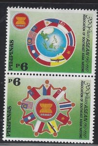2483a ASEAN 30th Anniv/Flag CV$3 Vertical Pair