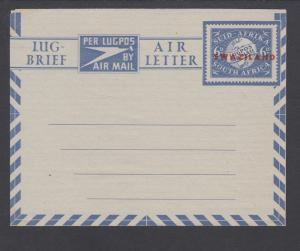 Swaziland H&G F-G9 unused. 1949 6p Aerogramme of South Africa with red overprint
