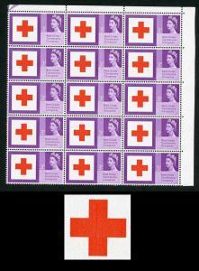 Spec W37b 1963 3d Red Cross with Repaired cross Block of 15 U/M