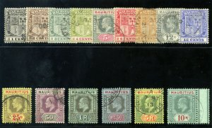 Mauritius 1910 KEVII set complete very fine used. SG 181-195. Sc 137-151.